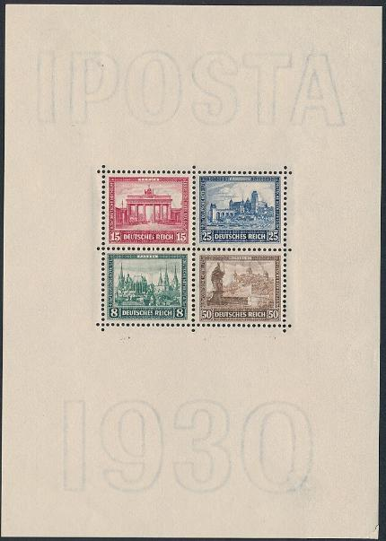 German Reich. 1930. IPOSTA-block. Unused, hinged. Small crease at lower left corner. Michel: EURO 550
