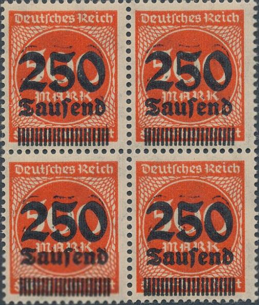 German Reich. 1923. 250/500 Tsd. mk. orangered. Variety: DOUBLE OVERPRINT in unmounted mint block of four