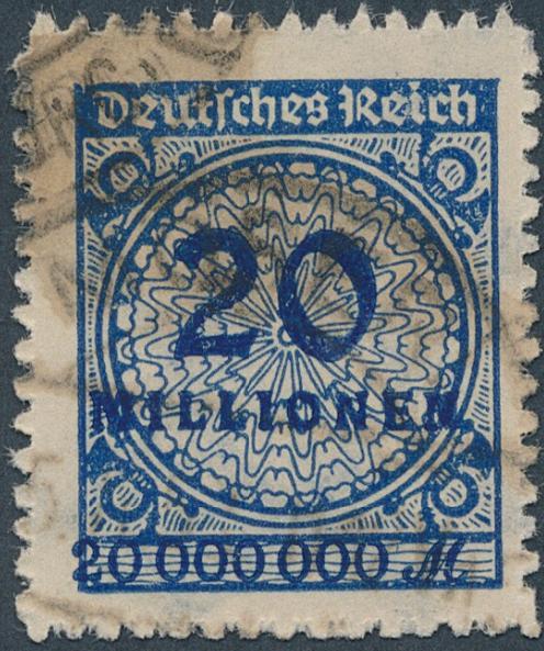 """German Reich. 1923. 20 mio mk. blue. """"durchstochen"""". Used. Michel: EURO 400. Signed INFLA"""