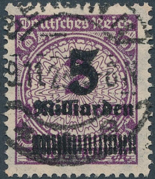 German Reich. 1923. 5 Mrd/2 mio mk. lilac. used. Michel: EURO 170. Signed INFLA