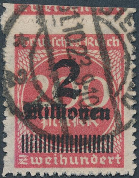 "German Reich. 1923. 2 mio/200 mk. rose. ""durchstochen"". Used. Michel: EURO 200. Signed INFLA and Winkler BPP"
