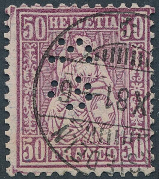 Switzerland. 1881. 50 c. lilac. Fine used with PERFIN. Michel: EURO 500+