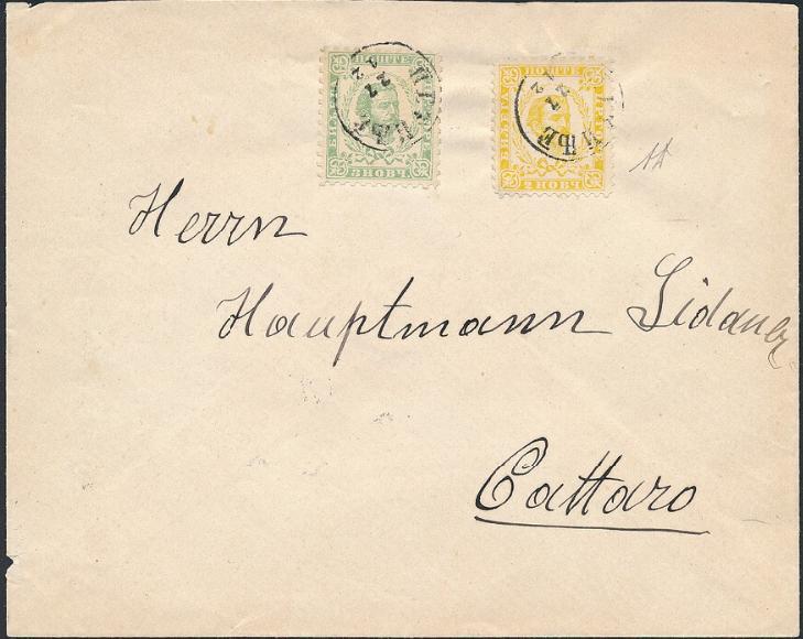 Montenegro. 1896. 2 Nkr. gul (3.tryk) og 3 Nkr. grøn (4.tryk)