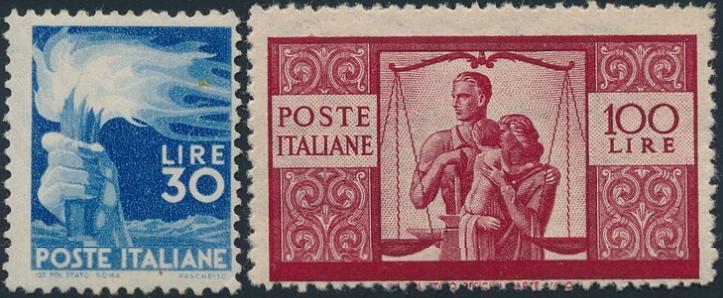 Italy. 1945. 30 L. blue and 100 L. carmine. Nh. Michel: EURO 950. Certificate Sirotti