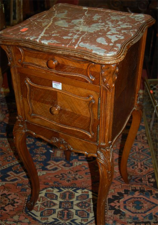 A circa 1900 French figured walnut and red marble topped pot cupboard, having single upper drawer