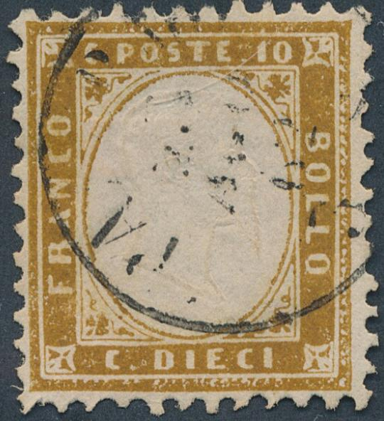 Italy. 1862. 10 c. Emanuel, brown. Fine used. Michel: EURO 650