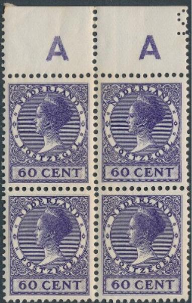 Holland. 1924. Wilhelmina. 60 c. violet. Nh block of four with upper margin. AFA: 4800+