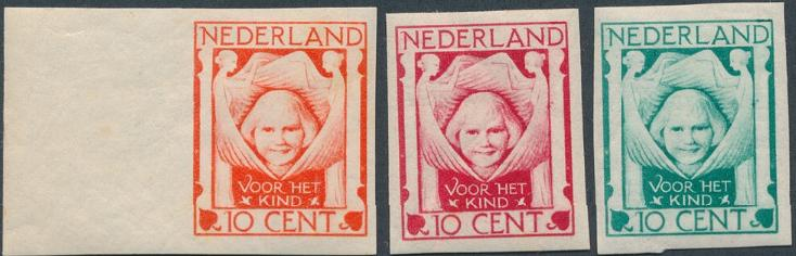 Holland. 1924. Voor Het Kind. 10 cent. 3 IMPERF. PROOFS.