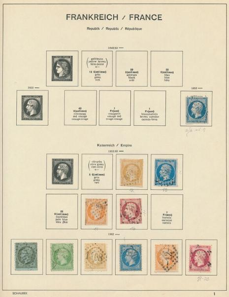 France. 1852-1972. ÆOlder collection in a Schaubek-album