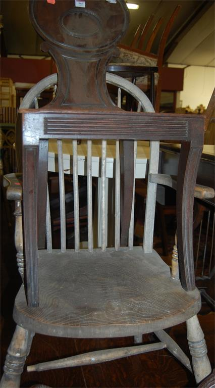 A Regency mahogany panel seat hall chair