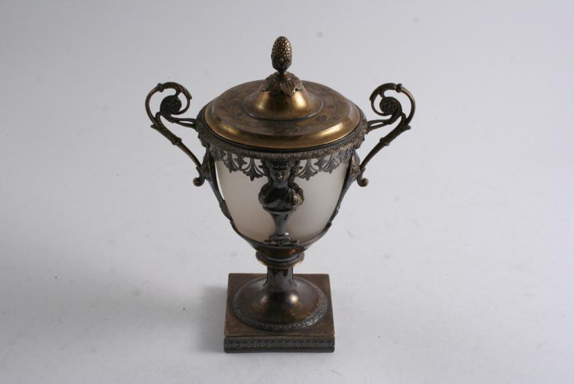 A 19TH CENTURY FRENCH SILVERGILT MOUNTED TWO-HANDLED VASE & COVER