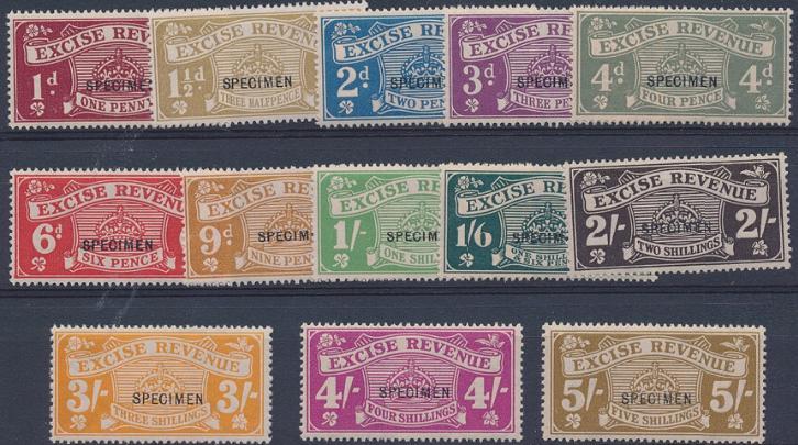 "England. REVENUE. 1916-1923. EXCISE REVENUE. 1/2 d. - 5 Sh. Overprinted ""SPECIMEN"". Unmounted mint"