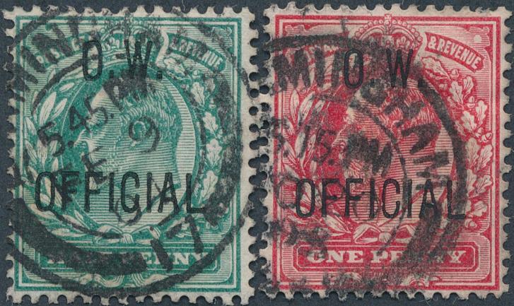 England. O. W. OFFICIAL. 1902. Edward. 1/2 d - 1 d. Used set. SG: £ 360