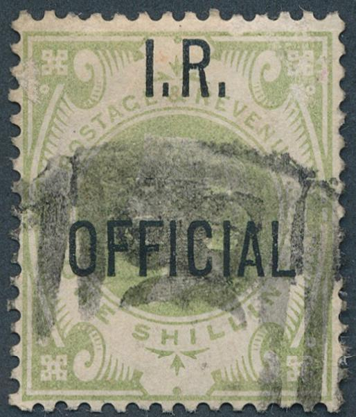 "England. I. R. OFFICIAL. 1892. 1 Sh. Victoria, green. Overprinted ""I. R. OFFICIAL"". Used. SG: £ 375"
