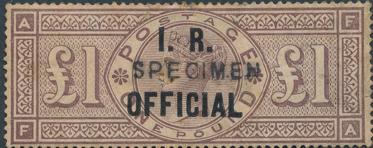 "England. I. R. OFFICIAL. 1 £. Victoria, brownlilac. Wmk. Crowns. Overprinted ""SPECIMEN"""