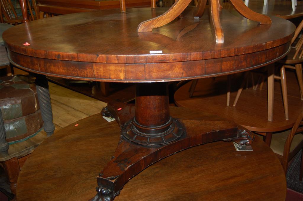 A William IV rosewood circular tilt-top breakfast table