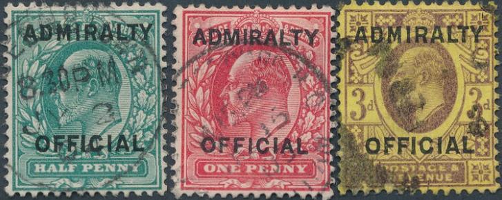 England. ADMIRALTY OFFICIAL. 1903-04. Edward. 1/2 - 3 d. Overtryk type O11. 3 stemplede mærker. SG: £ 450