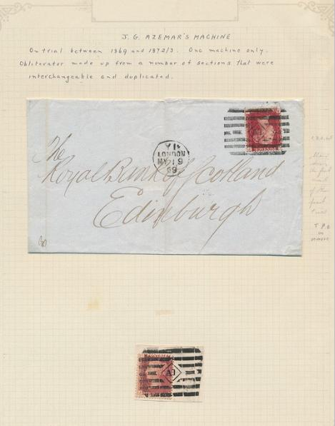 """England. 1869. Victoria. 1 d. red. Cover and piece with scarce cancelation """"J. G. AZEMAR´s MACHINE""""."""