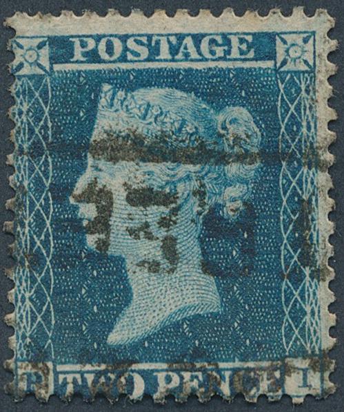 "England. 1854. 2 d. blue. ""Perkins Bacon & Co"". W2 . P.14. Plate 4. SG: £ 225"