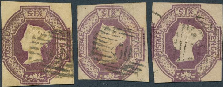 England. 1847. Embossed issue. 6 d. mauve, dull lilac and purple. 3 different colours, all cut into. SG: £ 3000