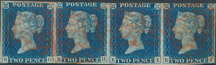 England. 1840. 2 d. blue. STRIP OF FOUR. Left stamps with thin. SG: £ 4000+