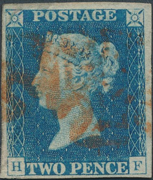 "England. 1840. 2 d. blue. ""H-F"". Fine used with minimal thin in margin at top. SG: £ 900"