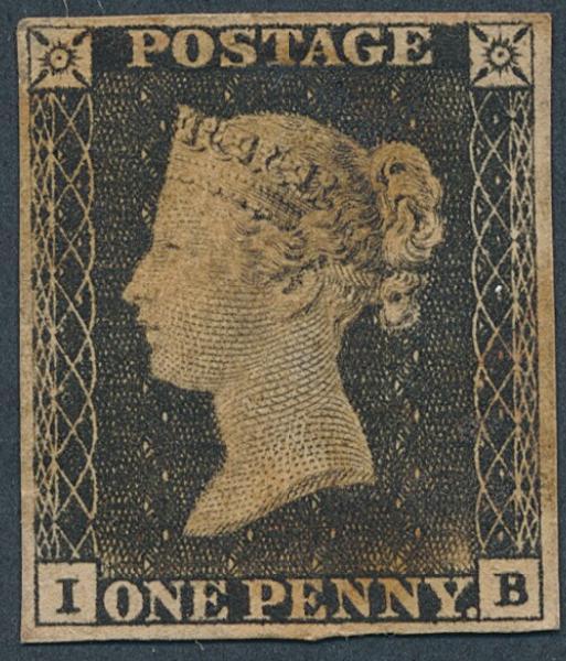 """England. 1840. 1 d. black. """"I-B""""."""