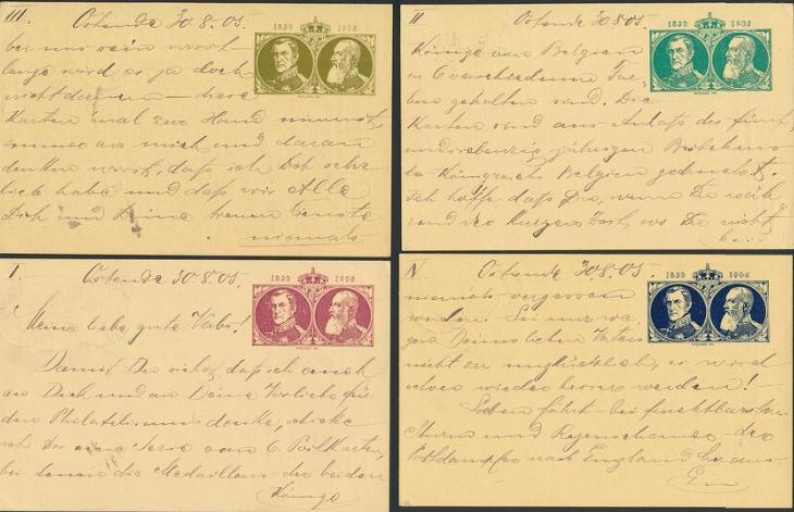 Belgium. 1905. 6 stationeries, all sent to Germany