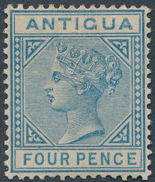 Antigua. 1882. Victoria. 4 d. blue. Vm. Crown CA. Fine unused. SG: £ 275