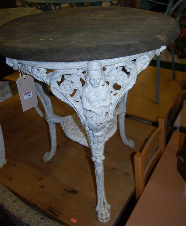 A Victorian white painted cast iron circular garden table