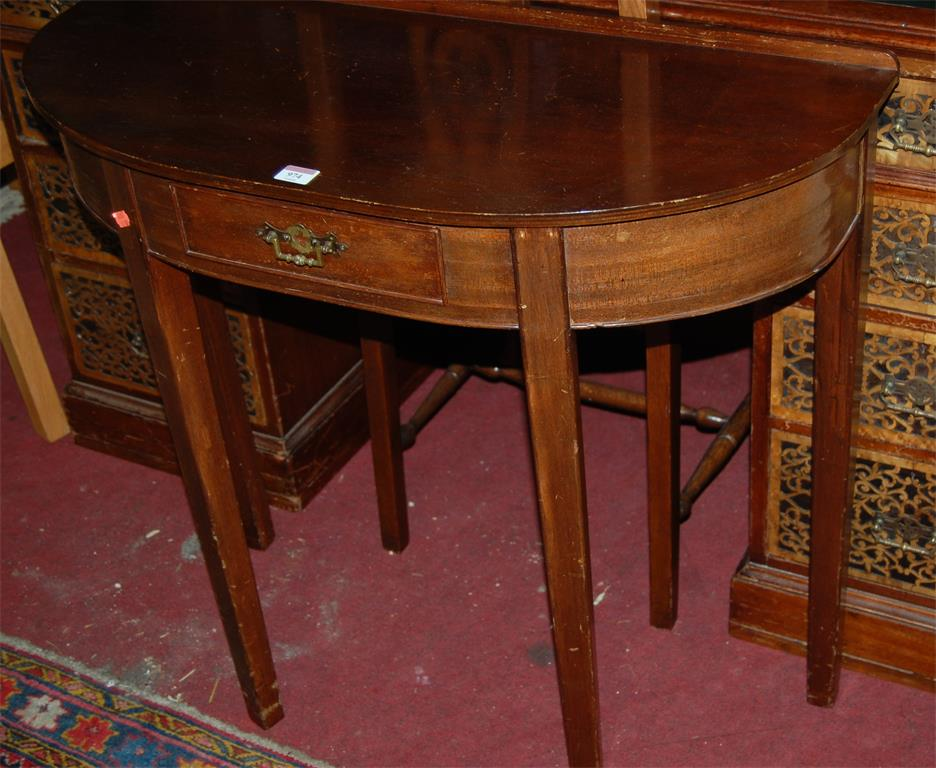 A mahogany bowfront single drawer side table; together with a single dining chair (2)