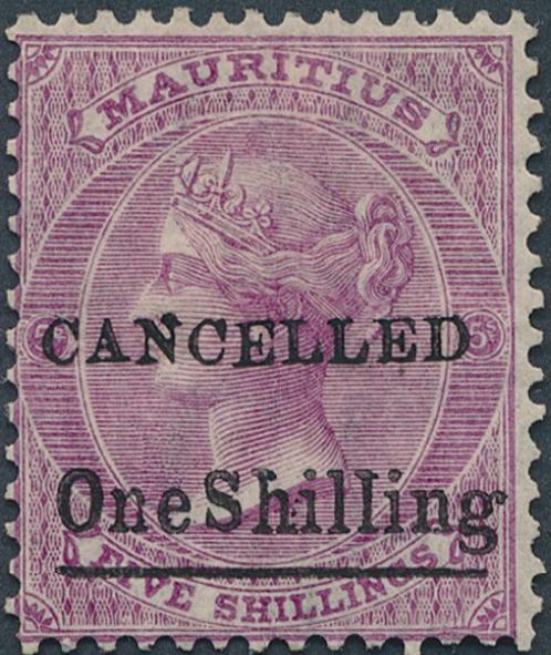 "Mauritius. 1877. Antigua. 1882. Victoria. One Shilling/5 Sh. brught mauve. Overprinted ""CANCELLED"""