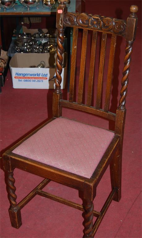 A set of six early 20th century barleytwist oak slatback dining chairs