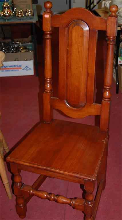 A set of eight 17th century style joined and stained hardwood panelled seat dining chairs (6+2)
