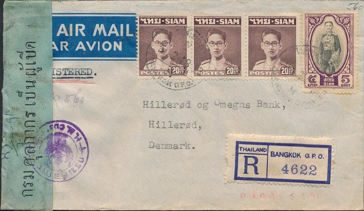 Thailand. (Siam). 1940´s. Registered airmailcover with censor, sent to Denmark