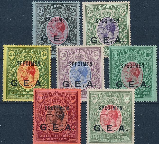 German East Africa. 1917. G.E.A. Overprint. 7 high values with SPECIMEN overprint. Scarce