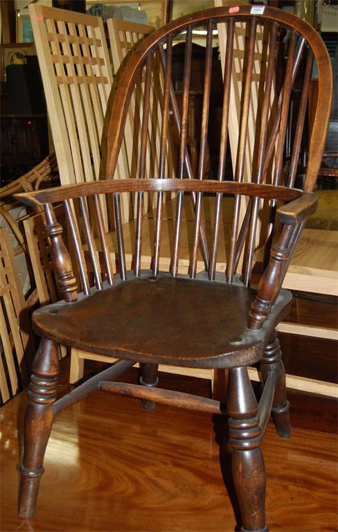 An early 20th century elm and beech stickstand Windsor chair