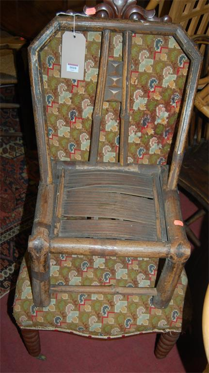 A Victorian mahogany needlework upholstered side chair; together with a childs bamboo chair (2)