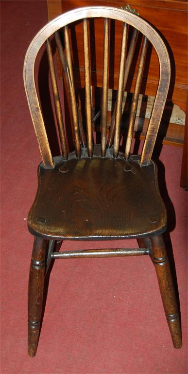 A set of five early 20th century elm seat and beech stickback kitchen chairs