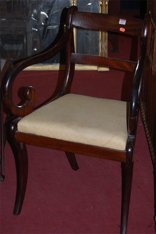 A 19th century mahogany barback elbow chair