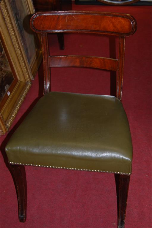 A set of eight Regency style mahogany barback dining chairs