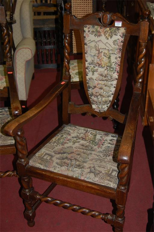 A set of six early 20th century barley twist oak floral pad back and seat dining chairs (4+2)
