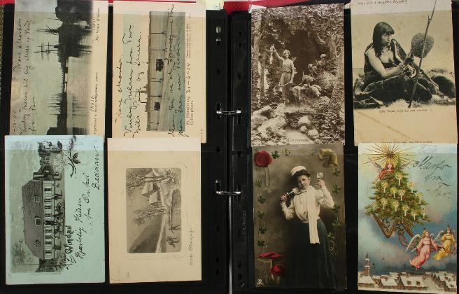 World. POSTCARDS. Album with circa 250 old postcards