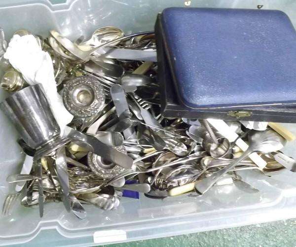 Large Box: assorted silver plated cutlery, candlesticks, cruet items etc
