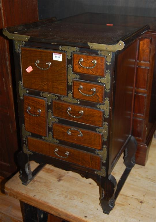 A quantity of occasional furniture to include; reproduction bedside chest of four long drawers