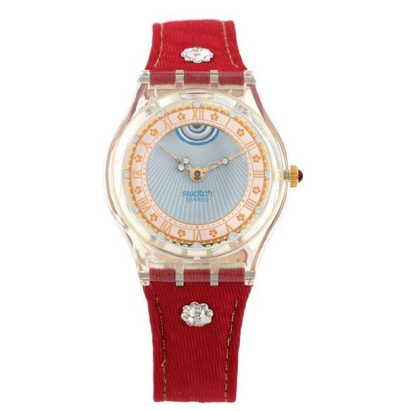 A gentleman's wristwatch of clear plast. Ref. no. GZ 127. Red nylon strap. Diam. app. 33 mm. 1980's.