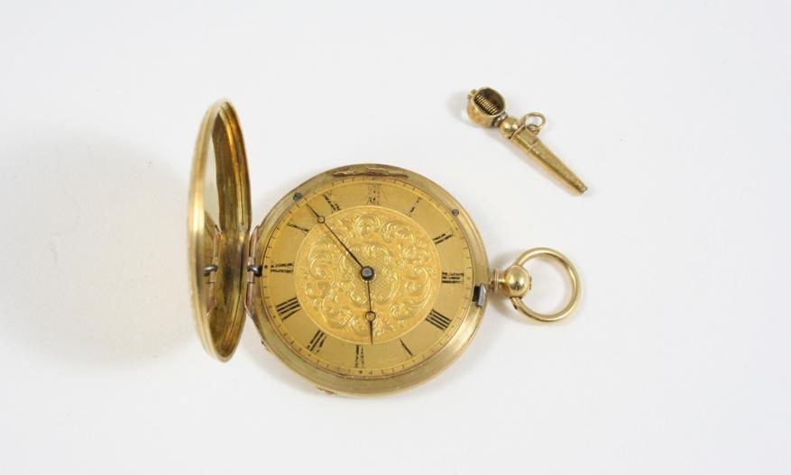 AN 18CT. GOLD FULL HUNTING CASED POCKET WATCH