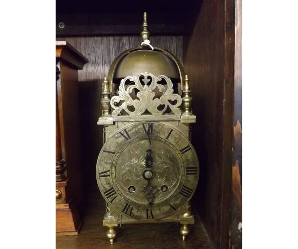 20th century French reproduction brass lantern style clock
