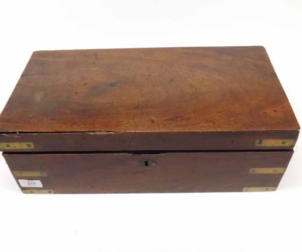 19th century mahogany and brass bound writing box of typical rectangular form with fitted and baize lined interior