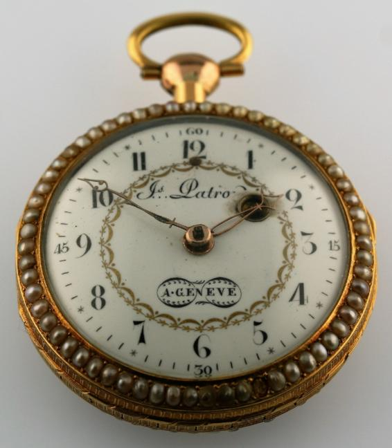 A LATE 18TH CENTURY SWISS GOLD VERGE QUARTER REPEATING OPEN FACED POCKET WATCH